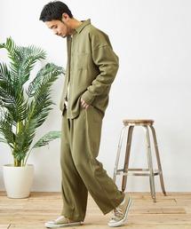 【セットアップ】テックリネン オーバーサイズ L/Sレギュラーカラーシャツ&タックバルーンワイドパンツオリーブ