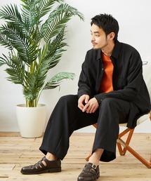 【セットアップ】テックリネン オーバーサイズ L/Sレギュラーカラーシャツ&タックバルーンワイドパンツブラック