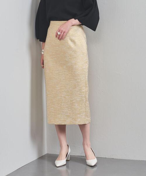 UBC ラメ ジャカード ハイウエストタイトスカート