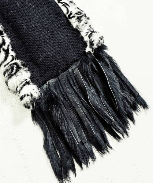 TRIBAL WOLF FUR MUFFLER