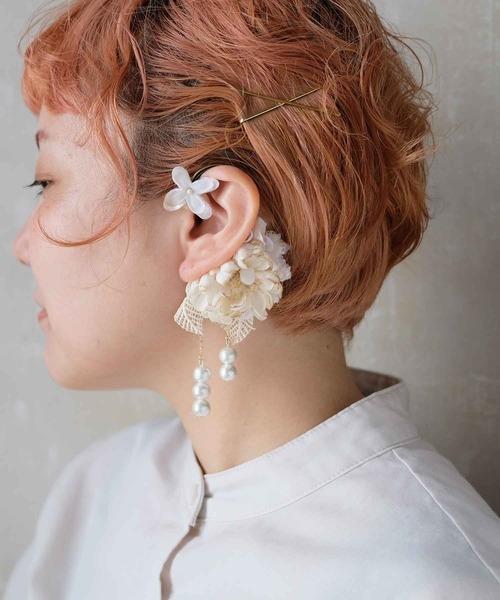 コットンパールと布花のイヤーカフ*