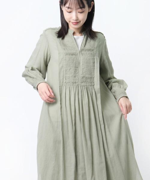 【 ne Quittez pas / ヌキテパ 】ピンタックドレス ワンピース MOSS COTTON PINTUCK DRESS