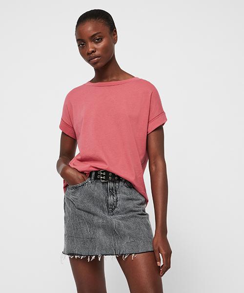 ALLSAINTS(オールセインツ)の「IMOGEN BOY T-SHIRT | イモゲン ボーイ Tシャツ(Tシャツ/カットソー)」|ピンク