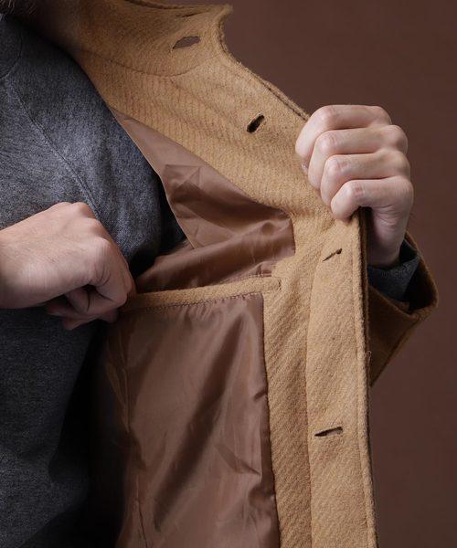 Wool Blend Melton Stand Up Collar Coat/スタンドカラーコート