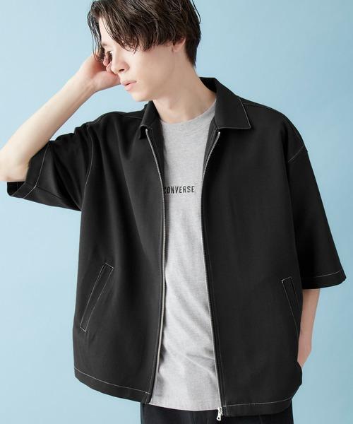 TRストレッチ ステッチ ジップアップシャツ(1/2 sleeve)2020SUMMER