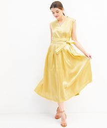 31fff4f90a24a ドレス・ワンピース(ドレス・ワンピース)の「カマーベルト風サテンミモレ丈フレア
