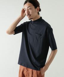 WORK NOT WORK URBAN RESEARCH(ワークノットワークアーバンリサーチ)のコットン/ナイロンモックネック五分袖Tシャツ(Tシャツ/カットソー)