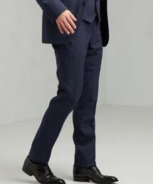[ ストローナ ] STRONA 千鳥 スリム ノープリーツ スーツ パンツ