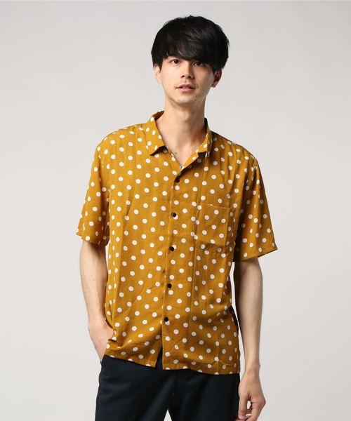 Revo. ドットパターン オープンネックシャツ