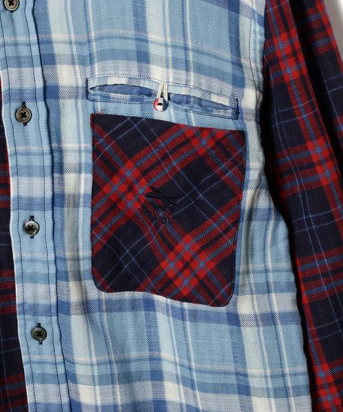 山下マヌー × HARRYTOIT × BEAMS LIGHTS / 別注 チェック切り替えボタンダウンシャツ