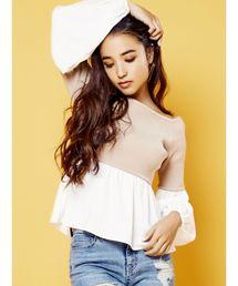 RESEXXY(リゼクシー)のシャツレイヤードオフショルニットトップス(ニット/セーター)