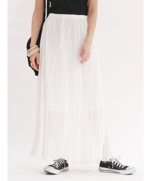 Ungrid(アングリッド)の「楊柳フレアマキシスカート(スカート)」 オフホワイト