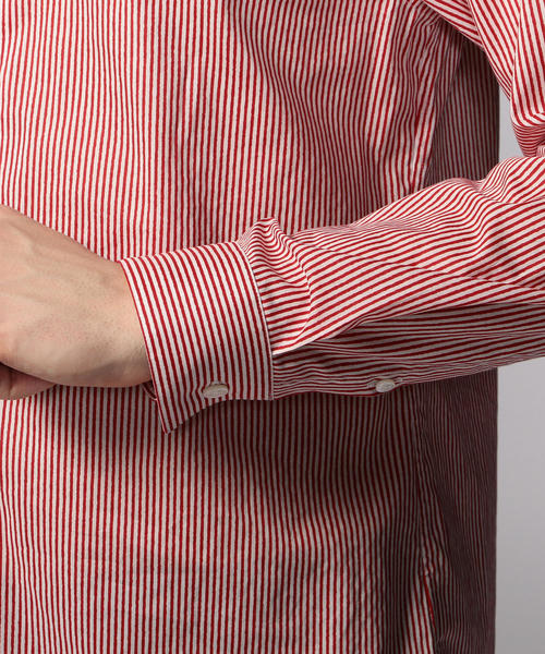 ストライププリント バンドカラーシャツ