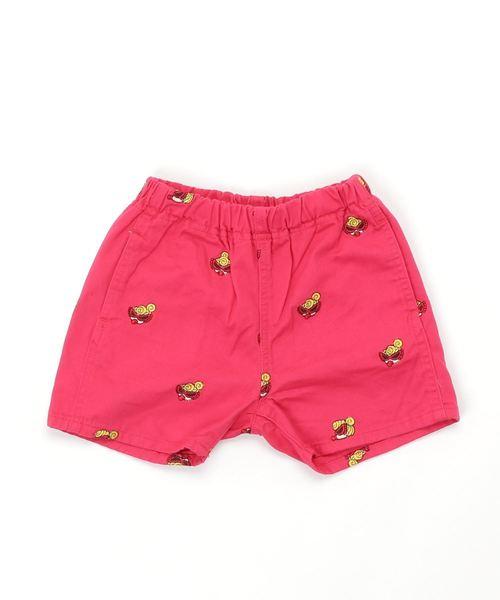 HYSTERIC MINI(ヒステリックミニ)の「MINI FACE総柄刺繍 3分丈ツイルショートパンツ(パンツ)」|ピンク系その他