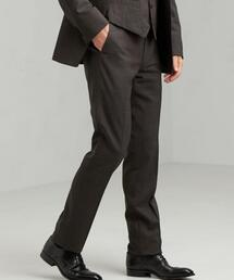 [ ストローナ ] STRONA グレンチェック スリム ノープリーツ スーツ パンツ
