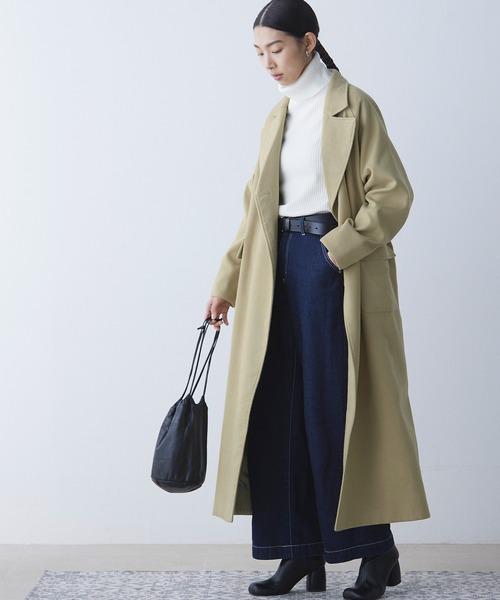 【EMMA】オーバーサイズ ダブルボタン ラグランスリーブ フラップポケット付きロングコート