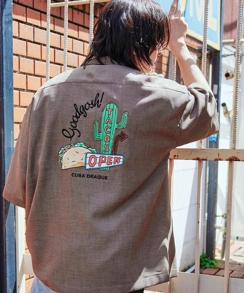 テックリネン 刺繍デザイン オーバーサイズ 半袖ボーリングシャツ