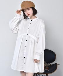 ギャザーチュニックシャツオフホワイト