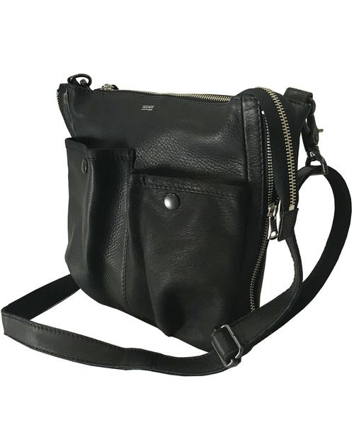 オイルドカウレザー・Wポケットミニショルダー DECADE(No-01043) Oiled Cow Leather W Pocket Mini Shoulder Bag