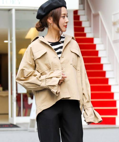 b8e46a7352c96 Fashion Letter(ファッションレター)のキャンディー袖ミリタリージャケット(ミリタリージャケット)