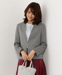 <closet story>□ブッチャー カラーレスジャケット -手洗い可能-