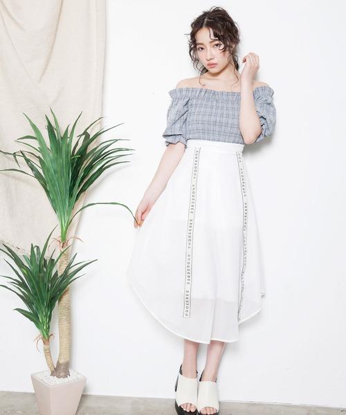 ANDGEEBEE(アンジービー)の「テープメッシュスカート(スカート)」|ホワイト