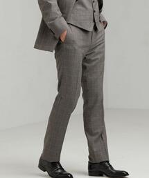 [ ストローナ ] STRONA ウインドウペーン スリム ノープリーツ スーツ パンツ
