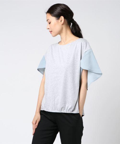 【La・comfy】CVC天竺×ジョーゼット 変形袖プルオーバー
