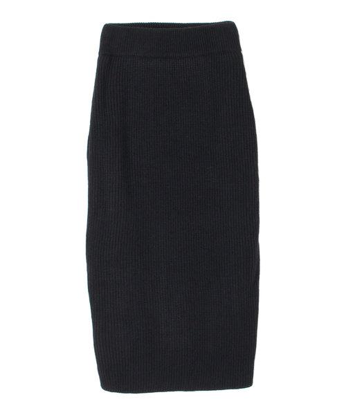 titivate(ティティベイト)の「ニットロングタイトスカート(スカート)」|ブラック