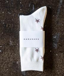 HARUSAKU(ハルサク)のHARUSAKU Men's Back Star Pattern Socks:ハルサク メンズバックスター パターンソックス(ソックス/靴下)