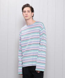 <H>MULTI BORDER OVER SLEEVE PULLOVER/カットソー ◆