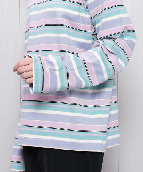 <H>MULTI BORDER OVER SLEEVE PULLOVER/カットソー