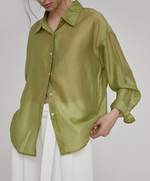 【UNSPOKEN】Sheer green shirt  FAZ20622