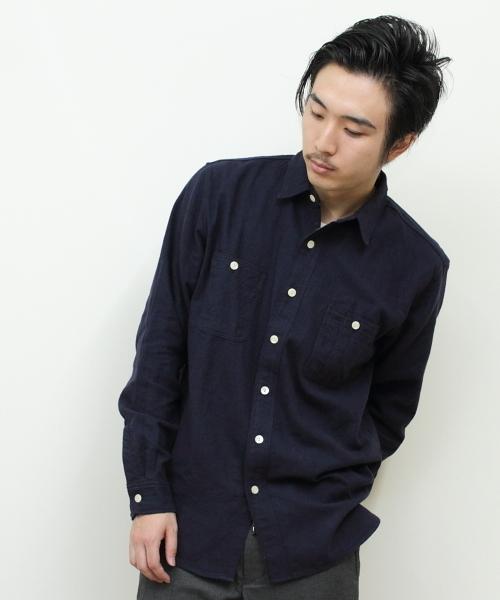 THE BASICS / ザ ベーシックス コットンリネンウール ワークシャツ
