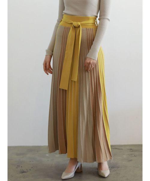 LAGUNAMOON(ラグナムーン)の「パネルカラーニットマキシスカート(スカート)」|イエロー