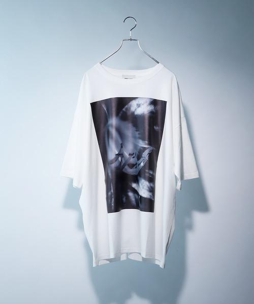 ビッグシルエットフォトグラフィック転写プリントUネックカットソー 1/2 sleeve(EMMA CLOTHES)