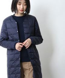 【 TAION / タイオン 】Vネックロングダウンジャケット TAION-W101-LONG‥ネイビー