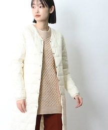 【 TAION / タイオン 】Vネックロングダウンジャケット TAION-W101-LONG‥オフホワイト