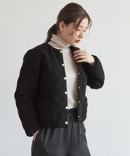 DRESSTERIOR(ドレステリア)の「Traditional Weatherwear(トラディショナル ウェザーウェア) ボアキルティングブルゾン(ブルゾン)」 ブラック