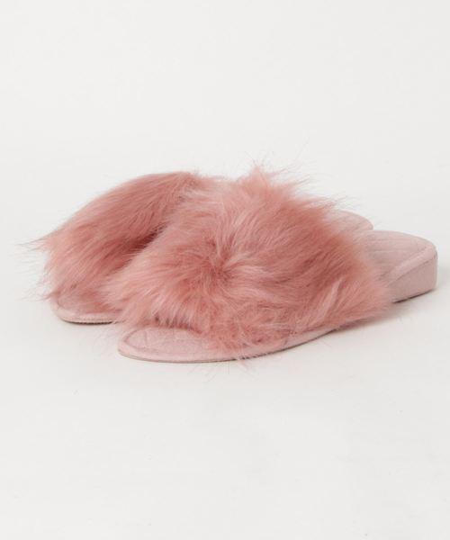 Francfranc(フランフラン)の「フラッフィー ファー ルームシューズ 25cm ピンク(ルームシューズ/スリッパ)」 マルチ
