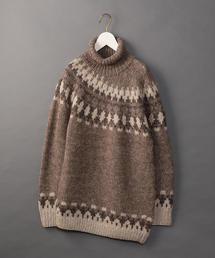 <6(ROKU)>NORDIC ASYMMETRY TURTLE NECK KNIT/ニット