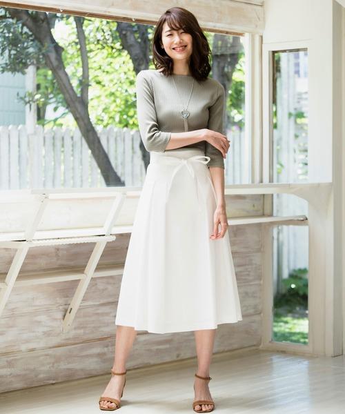 ANAYI(アナイ)の「リネン混ストレッチフレアスカート(スカート)」|ホワイト