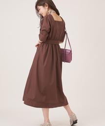 natural couture(ナチュラルクチュール)のスカーフ&共ベルト付き前後2WAYワンピ(ワンピース)