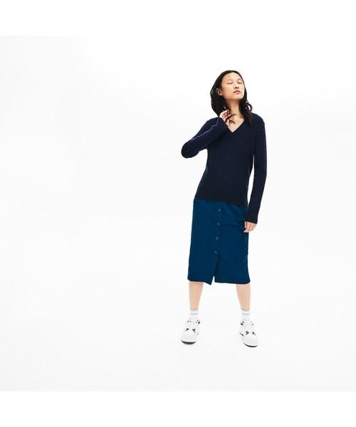 訳あり商品 カシミアブレンドケーブルニットVネックセーター, ジュエリー&ウォッチ コパル a304dcd9