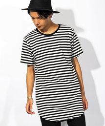 8(eight)(エイト)のボーダー 半袖Tシャツ ロング丈  (Tシャツ/カットソー)