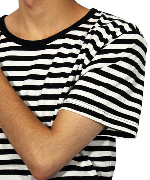 ボーダー 半袖Tシャツ ロング丈