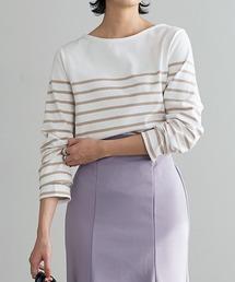 KOBE LETTUCE(コウベレタス)のボーダー・無地 コットン100%長袖ベーシックカットソーロンTトップス バスクシャツ(Tシャツ/カットソー)