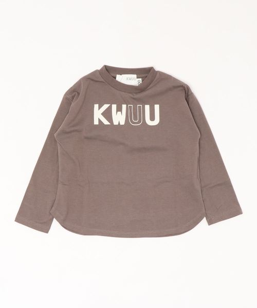 KWUU(クー)の「長袖 プリント ロンT(Tシャツ/カットソー)」|モカ