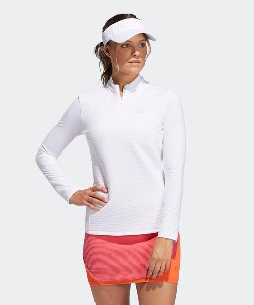 ファブリックミックス 長袖ジップハーフモックシャツ 【adidas Golf/アディダスゴルフ】/ Wind Sweatshirt
