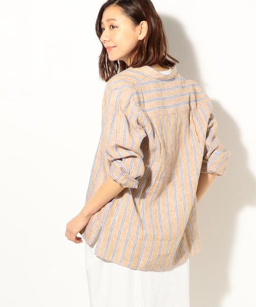 coen(コーエン)の「フレンチリネンバンドカラーシャツ(シャツ/ブラウス)」 ベージュ